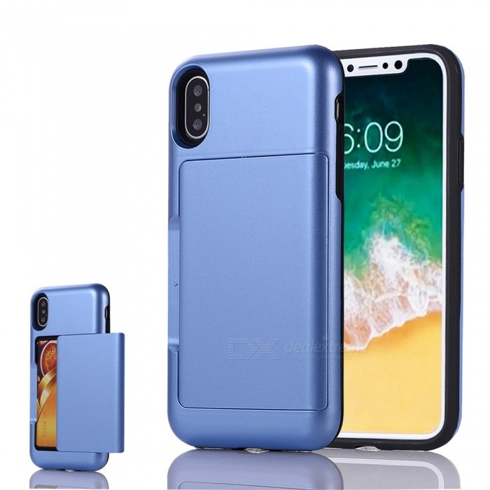 Mini Smile Premium PC + TPU Protective Case w/ Card Slot for IPHONE X - BluePlastic Cases<br>Form  ColorBlueModelIX-BHQuantity1 DX.PCM.Model.AttributeModel.UnitMaterialPC + TPUCompatible ModelsiPhone XDesignMixed Color,Card SlotStyleBack CasesPacking List1 x Case<br>