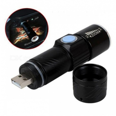 Mini Zoom 3-Mode USB Rechargeable LED Tactical Flashlight Torch for Outdoor Travel
