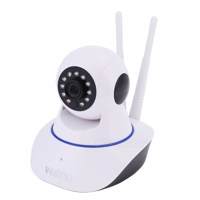 VESKYS 720P 1.0M HD Wi-Fi Security Surveillance IP Camera with Cloud Storage (EU Plug)IP Cameras<br>Form  ColorWhitePower AdapterEU PlugModelN/AMaterialABSQuantity1 DX.PCM.Model.AttributeModel.UnitImage SensorCMOSImage Sensor SizeOthers,1/4inchPixels1.0MPLens3.6mmViewing AngleOthers,75 DX.PCM.Model.AttributeModel.UnitVideo Compressed FormatH.264Picture Resolution1280x720Frame Rate25fpsInput/OutputBuilt-in microphone/speakerAudio Compression FormatOthers,G.711AMinimum Illumination0.1 DX.PCM.Model.AttributeModel.UnitNight VisionYesIR-LED Quantity11Night Vision Distance10 DX.PCM.Model.AttributeModel.UnitWireless / WiFi802.11 b / g / nNetwork ProtocolTCP,IP,UDP,HTTP,SMTPSupported SystemsOthers,NOSupported BrowserIE 6.0 and aboveSIM Card SlotNoOnline Visitor4IP ModeDynamicMobile Phone PlatformAndroid,iOSSmart AlarmMotion-Detection AlarmFree DDNSYesIR-CUTYesBuilt-in Memory / RAMNoLocal MemoryYesMemory CardTFMax. Memory Supported128GBMotorYesRotation AngleHorizontal 350 degree / vertical 120 degreeSupported LanguagesEnglish,Simplified ChineseWater-proofNoIntercom FunctionYesPacking List1 x Cloud Storage IP Camera1 x AC power adapter (EU Plug / 110~240V / 110cm-cable)1 x Bracket 1 x Pack of installation accessories1 x English user manual<br>