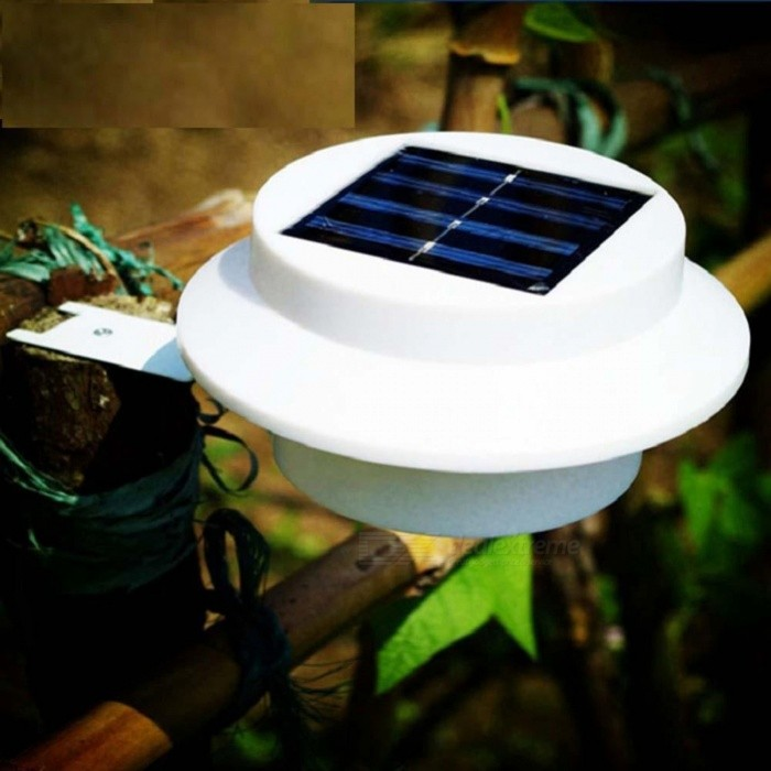 3-LED High Brightness IP44 Waterproof Garden Pathway Lamp, Outdoor Solar LightSolar Lamps<br>Form  ColorWhiteMaterialPP ABS (white shell)+ stainlesQuantity1 DX.PCM.Model.AttributeModel.UnitWaterproof LevelIP44Emitter TypeLEDPower/ DX.PCM.Model.AttributeModel.UnitWorking Voltage   6 DX.PCM.Model.AttributeModel.UnitBattery Capacity100 DX.PCM.Model.AttributeModel.UnitWorking Time8-10 DX.PCM.Model.AttributeModel.UnitPacking List1 x 3-LED Solar Fence Light1 x Mounting Bracket3 x Screws1 x Instruction manual<br>