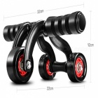 Premium Portable Three Wheeled Abdominal Chakra Body Muscle Builder  - Black