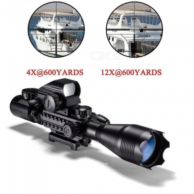 ACCU 4-12x50EG Hunting Tactical Rifle Scope with Dual Illuminated Red/Green Dot Laser Sight and 4 Holographic Reticle