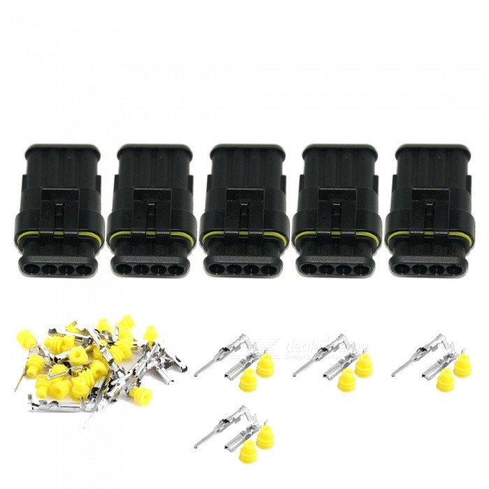Qook JHIA71-005 5 Sets Kit 4 Pin Way Waterproof Electrical Wire Connectors PlugsOther Gadgets<br>Form  Color5 Sets / 4-WayModelJHIA71-005Quantity5 DX.PCM.Model.AttributeModel.UnitMaterialPlastic + metal terminalShade Of ColorBlackPacking List1 x Four way male connector housing and insert1 x Four way female connector housing and insert8 x Silicon rubber cable seals4 x Male terminals4 x Female terminals<br>