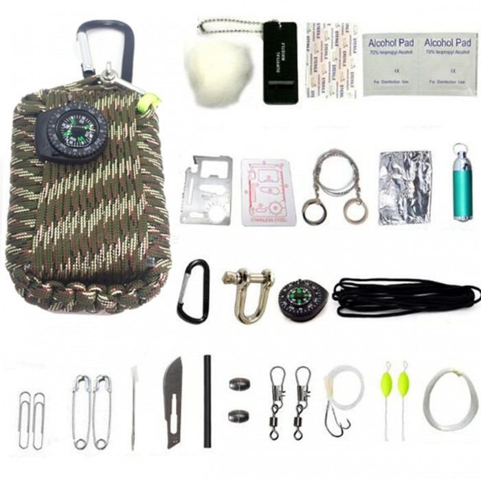 29-in-1 Multi-function Outdoor Camping Survival Tool Kit - CP CamouflageFirst Aid<br>Form  ColorMultiCamQuantity1 DX.PCM.Model.AttributeModel.UnitMaterialRope + metal + plasticBest UseOthers,Outdoor camping survivalPacking List1 x Rope2 x Paperclips2 x Safetypins1 x Needle1 x Knife1 x Fire starter2 x Weights 2 x Swivels1 x Fishing hooks2 x Floats1 x Fishing lines1 x Alcohol pad2 x Band-aid2 x Cottons1 x Tool card1 x Instruction1 x Wire saw1 x Tin foil1 x Flashlight1 x U buckle1 x Compass1 x Carabiner1 x Whistle<br>