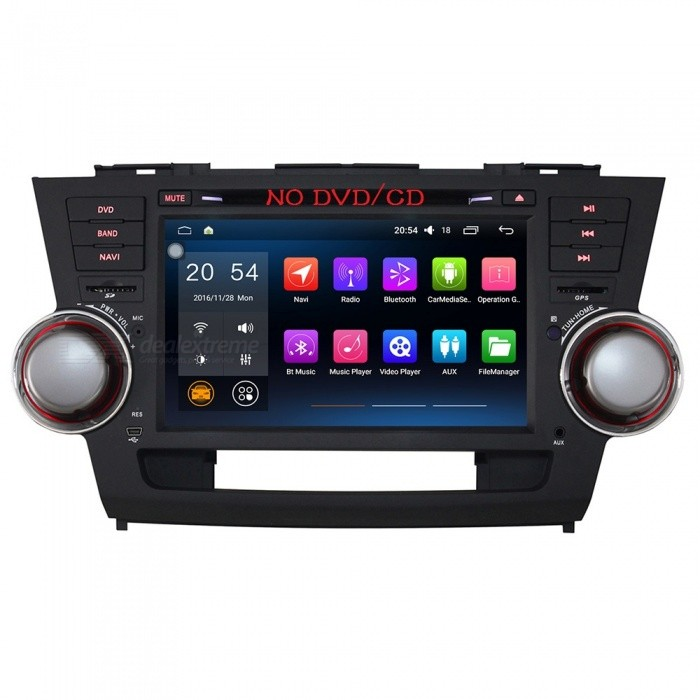 Joyous J-8822N 8 Android 6.0.1 HD Dual Din Touch Screen Car GPS Toyota Bluetooth Radio Navigation SystemCar DVD Players<br>Form  ColorBlackModelJ-8822N6.0Quantity1 DX.PCM.Model.AttributeModel.UnitMaterialPCB + Electrolysis plate + plasticStyle2 Din In-DashFunctionOthers,Wi-Fi/4G,OBD2, DVR, Mirror Link , Built-in speaker , GPS , Dual Zone , Subwoofer Output , Radio  , Steering Wheel ControlCompatible MakeOthers,ToyotaCompatible Car ModelToyota HighlanderCompatible YearOthers,2008 , 2009 , 2010 , 2011Screen SizeOthers,8.0 inchesScreen Resolution1024*600Touch Screen TypeYesDetachable PanelNoBrightness ControlYesMenu LanguageOthers,English , Greek , Danish , Norwegian , Dutch , Arabic , Turkish , Japanese , Bahasa Indonesia , Korean , Thai , French , Maltese , Hungarian , Latin , Persian , Malay , Slovak , Czech , Greek , Romanian , Swedish , German , Finnish , Chinese Simplified , Chinese Traditional , Bulgarian , Norwegian , Hebrew , Italian , Spanish , Portuguese , Russian , Vietnamese , PolishCPU ProcessorIntel ATOM 1.2GH(X4) Quad-coreSupport MapIGO,TOMTOM,Garmin,Sygic,CarelandMain FrequencyOthers,1.2 DX.PCM.Model.AttributeModel.UnitStore CapacityOthers,1 DX.PCM.Model.AttributeModel.UnitMemory Card SlotStandard TF CardVoice Guidance CruiseYesGPS Dual ZoneYesOperating SystemOthers,Android 6.0.1Audio FormatsMP3,WMA,APE,FLAC,OGG,AC3,DTS,AACVideo FormatsOthers,RM , PMP , AVC , FLV , VOB , MPG , DAT , MPEG , H.264 , MPEG1 , MPEG2 , RMVB , MPEG4 , WMV , TP , AVI , DIVX , MKV , MOV , HDMOV , MP4 , M4VPicture FormatsJPEG,BMP,PNG,GIF,TIFF,jps(3D),mpo(3D)Support RDSfor European countriesRadio TunerAM,FMRadio Response BandwidthAM: 520KHz-1700KHz,FM: 87MHz-110MHzStation Preset Qty.30 StationsRDSYesBuilt-in MicrophoneYesBluetooth FunctionReceived Call,Dialled CallBluetooth VersionOthers,Bluetooth V5.1Amplifier Peak Power4 x 45 DX.PCM.Model.AttributeModel.UnitAudio ModeNatural,Rock,Jazz,Classical,Live,Dancing,PopularInterface PortUSB, TFAudio Input1 channelAudio  Output2 Channels