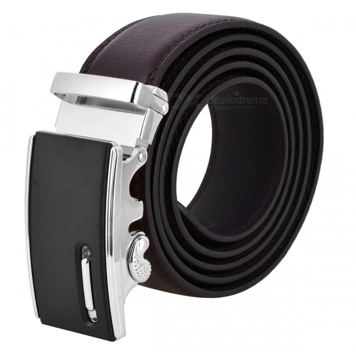 Men's Fashion Automatic Buckle Second Layer Cow Leather Belt - Brown