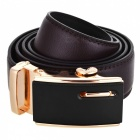 Men's Fashion Automatic Buckle Second Layer Cow Leather Belt - Brown + Black + Golden