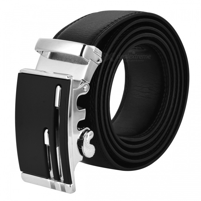 Mens Fashion Automatic Buckle Belt - BlackBelts and Buckles<br>Form  ColorBlackQuantity1 DX.PCM.Model.AttributeModel.UnitShade Of ColorBlackMaterialLeatherGenderMenSuitable forAdultsBelt Length120 DX.PCM.Model.AttributeModel.UnitBelt Width3.5 DX.PCM.Model.AttributeModel.UnitOther FeaturesMade of leather, its very fashionable.Packing List1 x Belt<br>