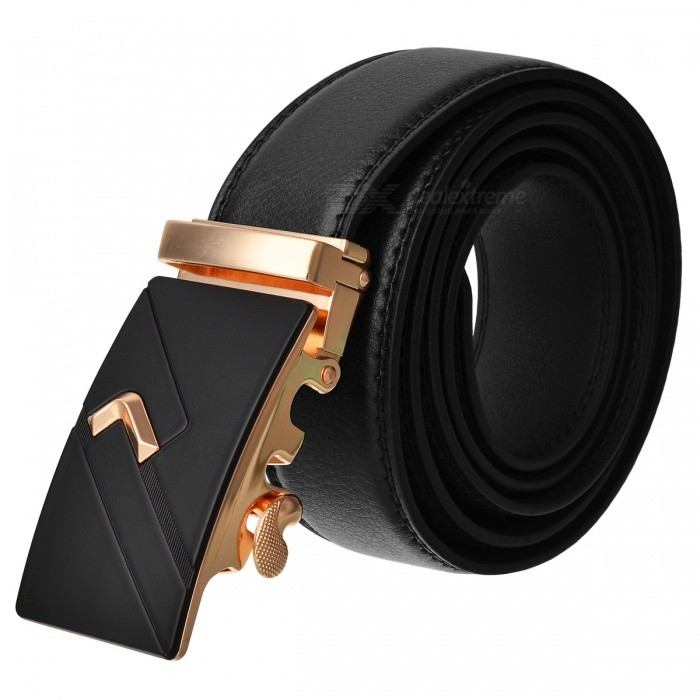 Fashion Automatic Buckle Mens Leather Belt - Black + GoldenBelts and Buckles<br>Form  ColorBlack + GoldenQuantity1 DX.PCM.Model.AttributeModel.UnitShade Of ColorBlackMaterialLeatherGenderMenSuitable forAdultsBelt Length120 DX.PCM.Model.AttributeModel.UnitBelt Width3.5 DX.PCM.Model.AttributeModel.UnitPacking List1 x Belt<br>