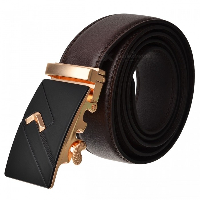 Fashion Automatic Buckle Mens Leather Belt - Brown + GoldenBelts and Buckles<br>Form  ColorBrown + GoldenQuantity1 DX.PCM.Model.AttributeModel.UnitShade Of ColorBrownMaterialLeatherGenderMenSuitable forAdultsBelt Length120 DX.PCM.Model.AttributeModel.UnitBelt Width3.5 DX.PCM.Model.AttributeModel.UnitPacking List1 x Belt<br>