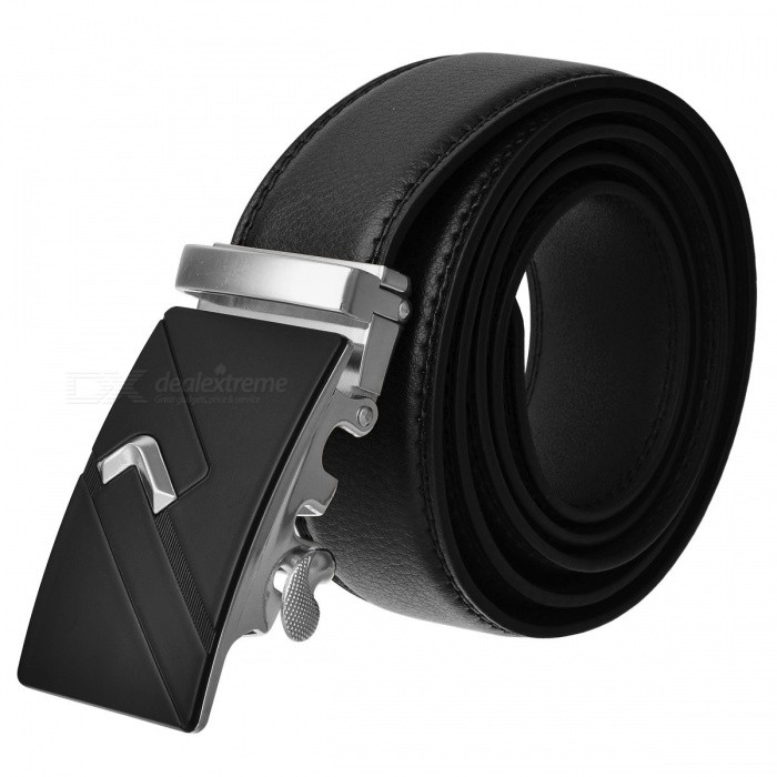 Fashion Automatic Buckle Men's Leather Belt - Black + Silver
