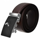 Fashion Automatic Buckle Men's Leather Belt - Brown + Silver