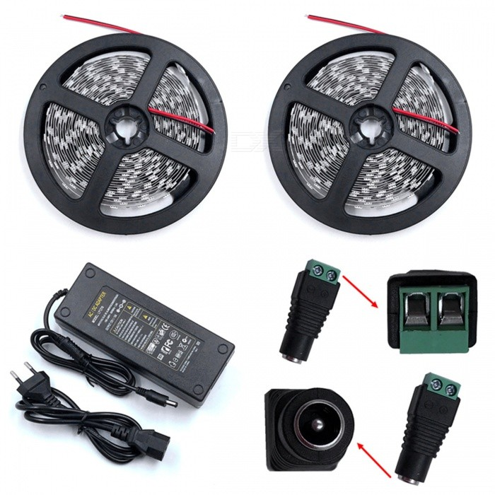 ZHAOYAO 144W Red Light 5050 SMD 600-LED Strip Light with 10A EU Plug Power Adapter Charger + DC Female Connector5050 SMD Strips<br>Form  ColorBlack + Grey + Multi-ColoredColor BINRedModel5050SMD-600L-EU-RedMaterialCircuit boardQuantity1 DX.PCM.Model.AttributeModel.UnitPowerOthers,144WRated VoltageDC 12 DX.PCM.Model.AttributeModel.UnitEmitter Type5050 SMD LEDTotal Emitters600Wavelength630-655nmActual Lumens30-14400 DX.PCM.Model.AttributeModel.UnitPower AdapterEU PlugPacking List2 x 5M LED Strip Lights1 x 10A EU Plug Power supply1 x DC Connector<br>