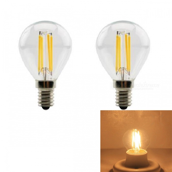JRLED E14 4W 400lm COB LED Warm White Retro Bulb (AC 220V / 2 PCS)E14<br>Color BIN4W Warm WhiteModelN/AMaterialGlass + aluminum alloyForm  ColorSilver + YellowQuantity2 DX.PCM.Model.AttributeModel.UnitPower4WRated VoltageAC 220 DX.PCM.Model.AttributeModel.UnitConnector TypeE14Chip BrandEpistarChip TypeN/AEmitter TypeCOBTotal Emitters4Theoretical Lumens430 DX.PCM.Model.AttributeModel.UnitActual Lumens400 DX.PCM.Model.AttributeModel.UnitColor Temperature3000KDimmableNoBeam Angle360 DX.PCM.Model.AttributeModel.UnitWavelengthN/ACertificationCE ROHSOther FeaturesThe appearance is similar to the traditional tungsten lamp shape, but in fact the LED light source, energy saving, environmental protection, longer usePacking List2 x E14 LED Bulbs<br>