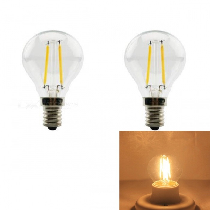 JRLED E14 2W 200lm COB LED Warm White Retro Bulb (AC 220V / 2 PCS)E14<br>Color BIN2W Warm WhiteModelN/AMaterialGlass + aluminum alloyForm  ColorSilver + YellowQuantity2 piecesPower2WRated VoltageAC 220 VConnector TypeE14Chip BrandEpistarChip TypeN/AEmitter TypeCOBTotal Emitters2Theoretical Lumens230 lumensActual Lumens200 lumensColor Temperature3000KDimmableNoBeam Angle360 °WavelengthN/ACertificationCE ROHSOther FeaturesThe appearance is similar to the traditional tungsten lamp shape, but in fact the LED light source, energy saving, environmental protection, longer usePacking List2 x E14 LED Bulbs<br>