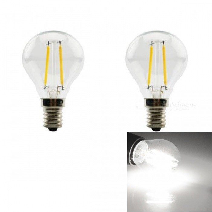 JRLED E14 2W 200lm COB LED Cold White Retro Bulb (AC 220V / 2 PCS)E14<br>Color BIN2W Cold WhiteModelN/AMaterialGlass + aluminum alloyForm  ColorSilver + YellowQuantity2 piecesPower2WRated VoltageAC 220 VConnector TypeE14Chip BrandEpistarChip TypeN/AEmitter TypeCOBTotal Emitters2Theoretical Lumens230 lumensActual Lumens200 lumensColor Temperature6000KDimmableNoBeam Angle360 °WavelengthN/ACertificationCE ROHSOther FeaturesThe appearance is similar to the traditional tungsten lamp shape, but in fact the LED light source, energy saving, environmental protection, longer usePacking List2 x E14 LED Bulbs<br>