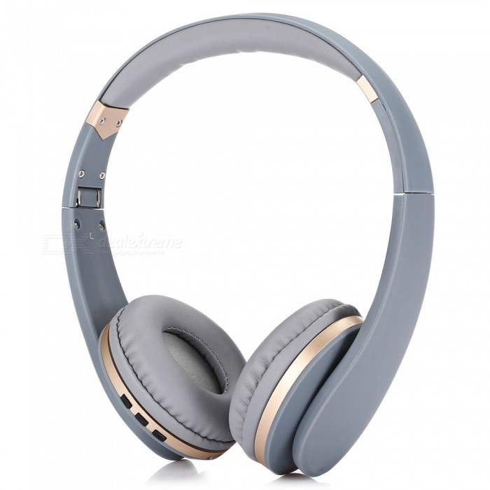 BT-023 Foldable Over-ear Shocking Bass Bluetooth V4.2 Headset - Grey + GoldenHeadphones<br>Form  ColorGrey + GoldenBrandOthers,N/AModelBT-023MaterialABSQuantity1 pieceConnection3.5mm Wired,BluetoothBluetooth VersionBluetooth V4.2Bluetooth ChipA2DP,AVRCP,HFP,HSPOperating Range10mConnects Two Phones SimultaneouslyYesCable Length100 cmHeadphone StyleBilateral,HeadbandWaterproof LevelIPX0 (Not Protected)Applicable ProductsUniversalHeadphone FeaturesEnglish Voice Prompts,Phone Control,Volume Control,With MicrophoneRadio TunerNoSupport Memory CardNoSupport Apt-XYesSensitivity105dBFrequency Response20~20KHzImpedance16 ohmDriver Unit40mmBattery TypeLi-ion batteryBuilt-in Battery Capacity 250 mAhPower AdapterUSBPower Supply5V 1APacking List1 x Headset1 x English and Chinese Manual1 x Micro USB Charging Cable ( 50cm )1 x 3.5mm Audio Cable ( 100cm )<br>