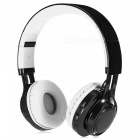 AB-005 Wireless Over-ear Soft Stereo Bluetooth V2.1 Headset Headphones w/ LED Flashing Light / TF Slot / FM - Black + White