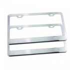 IZTOSS Automobile Car Metal License Plate Frame Cover for American Standard Size - Silver