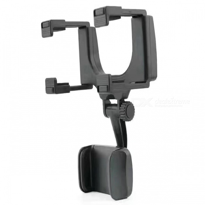 Universal Car Rearview Mirror Mount Smartphone Holder - Black
