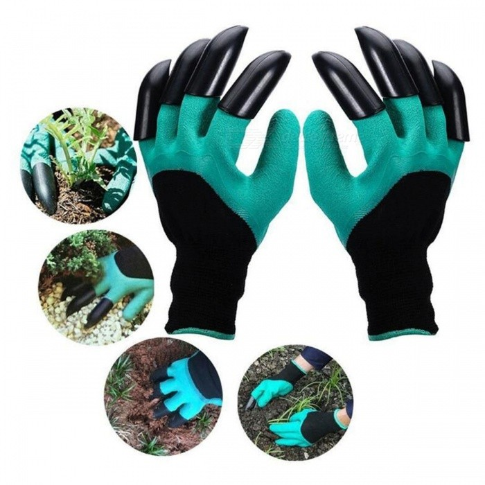 P-TOP Non-Slip Garden Genie Gloves with Claws for Digging &amp; Planting (2 PCS)Gardening Tools<br>Form  ColorGreen + BlackQuantity1 setMaterialABS Plasti+ Rubber+PolyesterPacking List2 x Gloves<br>