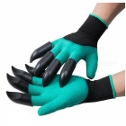 P-TOP Non-Slip Garden Genie Gloves with Claws for Digging & Planting (2 PCS)