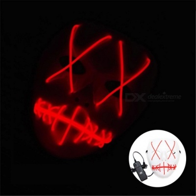 YWXLight Halloween Ghost Slit Mouth Light Up Luminescence Mask for Party Prop - Red