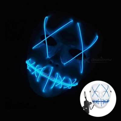 YWXLight Halloween Ghost Slit Mouth Light Up Luminescence Mask for Party Prop - Blue