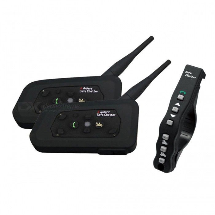 LEXIN A4 Motorcycle Bluetooth Wireless Helmet Intercom Interphone Headset for 4 Riders (Dual Pack)Motorcycle Interphone<br>Form  ColorDual PackModelA4Quantity1 DX.PCM.Model.AttributeModel.UnitPacking List2 x Main Units2 x Remote control handles2 Sets of Clips for Mounting the Main Units2 x Hi-Fi Speakers &amp; Mocrophone &amp; Audio Plugs2 x USB Cables2 * Chargers2 Pairs of Screws1 x Simple installation tool1 x User Manual<br>