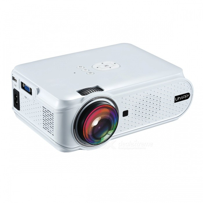 UHAPPY U90 Portable HD LED Mini 1500lumens Projector - WhiteProjectors<br>Form  ColorWhite (US Plug)BrandUhappyModelU90Quantity1 DX.PCM.Model.AttributeModel.UnitMaterialABSShade Of ColorWhiteOperating SystemNoTypeLCDBrightness1000~1999 lumensBrightness1500 DX.PCM.Model.AttributeModel.UnitMenu LanguageOthers,English, French,Danish,Spanish,Croatian,German, Greek,Italian,Hungarian,Portuguese,Slovenian,Norwegian Nynorsk,Russian,Serbian,Finnish,Slovak,Swedish,ChineseBuilt-in SpeakersYesLife Span20000 DX.PCM.Model.AttributeModel.UnitEmitter BINLEDDisplay Size37-130inchsAspect RatioOthers,16:9 Native, 4:3 compatitable; switch freelyContrast Ratio1000:1Native Resolution800x480Maximum Resolution1080PMaximum Resolution1080PThrow Distance1.2 ~ 3.8meterBuilt-in Memory / RAMNoStorageNoExternal MemorySD 32GBAudio FormatsOthers,MP3, AAC, WMA, RM, FLAC, OggVideo FormatsOthers,Supports *.mkv,*.wmv,*.mpg, *.mpeg, *.dat, *.avi, *.mov, *.iso, *.mp4, *.rm and *.jpg file formatsPicture FormatsOthers,HD JPEG/BMP/GIF/PNG/TIFFInput ConnectorsAV,VGA,USB,HDMIPower Consumption60W~79WPower Consumption60WPower Supply2.5A,100-250V, 55WPower AdapterUS PlugCertificationCEPacking List1 x Projector 1 x AV transfer cable (10cm±2cm)1 x Remote Control (2 x AAA batteries, not included)1 x User manual (English)1 x US plug adapter (100~240V, 2.5A, 90cm)1 x Big screw<br>