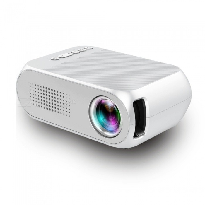 YG320 Portable LCD Projector, Support HD Video for Home Theater Cinema / Game / TV - White (US Plug)Projectors<br>Form  ColorWhite (US Plug)BrandOthers,N/AModelYG320Quantity1 setMaterialABSShade Of ColorWhiteTypeLCDBrightnessUnder 1000 lumensBrightness400 to 600 lumensMenu LanguageEnglishBuilt-in SpeakersYesLife Span30000 hoursDisplay Size24-60 inches projection screenAspect Ratio4:3Contrast Ratio8001Native Resolution1280 * 720 True 720PMaximum Resolution1080PMaximum Resolution1080PThrow Distance0.8-2MAudio FormatsOthers,MP3 / WMA / AAC / AC3 / M4aVideo FormatsOthers,RM, VOB, MPG, DAT, MPEG, RMVB, AVI, MOV, MP4Picture FormatsOthers,JPG / JPEG / BMP / GIF / PNG / GIFInput ConnectorsAV,USB,HDMIPower ConsumptionUnder 20WPower Consumption10W~24W MAXPower AdapterUS PlugPacking List1 x Manual1 x Power cable1 x AV cable1 x Remote Control (Battery Not Included)1 x YG320 Projector<br>