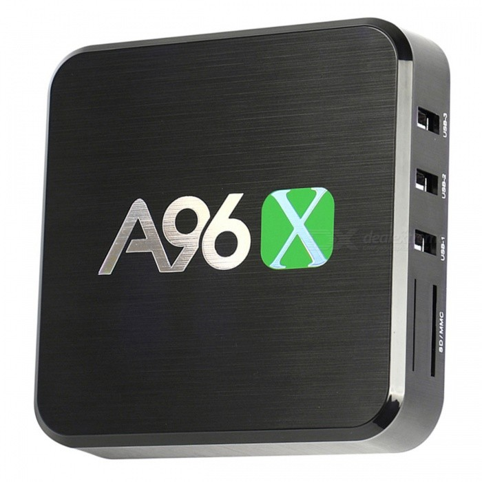 A96X Amlogic S905X HDR10 Android 6.0 TV Box Quad-Core 2.0GHz with 1GB RAM 8GB ROM - Black (US Plug)Smart TV Players<br>Form  ColorBlackBuilt-in Memory / RAM8GBStorage1GBPower AdapterUS PlugModelA96XQuantity1 DX.PCM.Model.AttributeModel.UnitMaterialABSShade Of ColorBlackOperating SystemAndroid 6.0ChipsetAmlogic S905X Quad-coreCPUOthers,Cortex-A53Processor Frequency2.0GHzGPUPenta-core Mali-450MP GPU @ 750MHzMenu LanguageEnglish,French,German,Italian,SpanishCamera PixelsNORAM/Memory TypeOthers,DDR3 1GB + 8GB ROMMax Extended Capacity32Supports Card TypeSDExternal HDDN/AInternal HDDN/AWi-Fi2.4GB WiFiBluetooth VersionNo3G FunctionNo3G Frequency RangeOthers,N/AWireless Keyboard/MouseN/AAudio FormatsMP3,WMA,FLAC,OGG,AAC,Others,RM,  programmable with 7.1/5.1 down-mixing.Video FormatsAVI,MKV,MOV,MP4,MPG,DAT,MPEG,Others,Support mkv, wmvAudio CodecsFLAC,HE-AACVideo CodecsH.264,Others,VP9 Profile-2, H.265 HEVC MP-10, H.264 AVC HP, MPEG-1/2/4, RealVideo 8/9/10, WMV/VC-1 SP/MP/AP.Picture FormatsJPEG,BMP,PNG,GIF,TIFFSubtitle FormatsOthers,N/AOutput Resolution1080P3DN/AHDMI1080PAudio OutputYesVideo OutputYesUSBUSB 2.0Other InterfaceN/APower SupplyUS Plug,  DC5V 2AAPP Built-inN/ACompatible ApplicationOthers,N/AFirmware UpgradeN/APacking List1 x Android TV box1 x Power adapter1x HD cable1 x Remote control1 x English user manual<br>