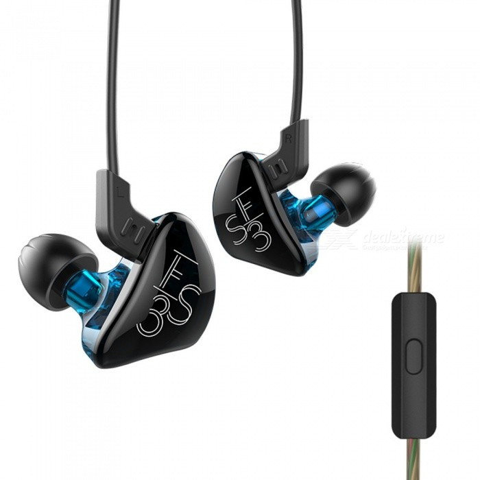 KZ ES3 1DD+1BA Hybrid Double Unit Driver In-Ear Detachable HiFi Earphone, DJ Monito Running Sport Headset w/ Mic - Blue + BlackHeadphones<br>Form  ColorBlue + Black (With Mic)BrandOthers,KZModelES3MaterialABS + TPEQuantity1 pieceConnection3.5mm WiredBluetooth VersionNoConnects Two Phones SimultaneouslyNoCable Length130 cmLeft &amp; Right Calbes TypeEqual LengthHeadphone StyleBilateral,Earbud,In-EarWaterproof LevelIPX2Applicable ProductsUniversal,IPHONE 7,IPHONE 7 PLUSHeadphone FeaturesHiFi,Noise-Canceling,With Microphone,For Sports &amp; ExerciseRadio TunerNoSupport Memory CardNoSupport Apt-XNoChannels2.0SNR106dB/mWSensitivity98dB±2dBFrequency Response20-45000HzImpedance18 ohmDriver Unit10 mmBattery TypeOthers,NOPower AdapterOthers,NOPacking List1 x KZ ES3 In-Ear Headphone3 Sets x Ear cap (1 set on the earphone )1 x Manual<br>