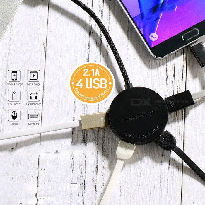 WT-N2 Stylish 4-Port USB 2.0 OTG HUB Dock for Mobile Phone / Tablet PC / USB Fan - Black (15CM)