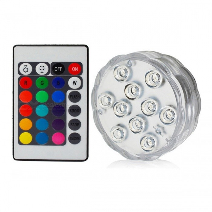 IP67 Waterproof Submersible 10-LED Underwater Light (1Pc Remote Control, 1Pc Light)Underwater Lights<br>Form  Color1 Remote 1 LightMaterialPlasticQuantity1 DX.PCM.Model.AttributeModel.UnitWater-proofIP67PowerOthers,N/ARated VoltageOthers,6 DX.PCM.Model.AttributeModel.UnitEmitter Type5050 SMD LEDTotal Emitters10Actual Lumens/ DX.PCM.Model.AttributeModel.UnitColor BINRGBDimmableYesInstallation TypeOthers,-Packing List1 x Remote Control1 x Light<br>