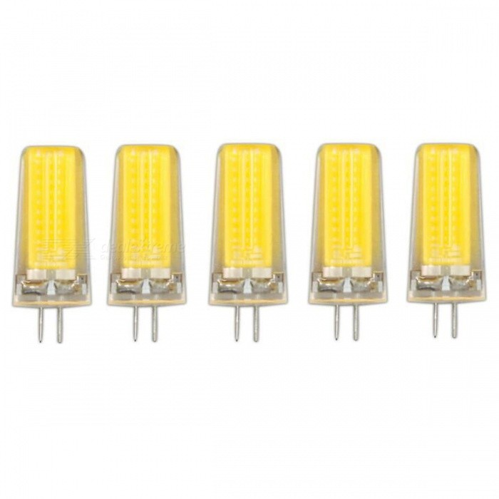 JRLED G4 5W COB Warm White Dimmable Light Bulbs (AC 220V, 5 PCS)G4<br>Color BIN5W Warm WhiteModelN/AMaterialSilica gel + LEDForm  ColorTransparent + YellowQuantity5 DX.PCM.Model.AttributeModel.UnitPower5WRated VoltageAC 220 DX.PCM.Model.AttributeModel.UnitConnector TypeG4Chip BrandEpistarChip TypeN/AEmitter TypeCOBTotal Emitters1Theoretical Lumens700 DX.PCM.Model.AttributeModel.UnitActual Lumens600 DX.PCM.Model.AttributeModel.UnitColor Temperature3000KDimmableNoBeam Angle360 DX.PCM.Model.AttributeModel.UnitWavelengthN/ACertificationCE ROHSOther FeaturesThis product uses integrated drive, support SCR dimming regulator brightness, chip using sapphire chip, brightness is 30% higher than the traditional light bulb.Packing List5 x G4 220V LED Bulbs<br>