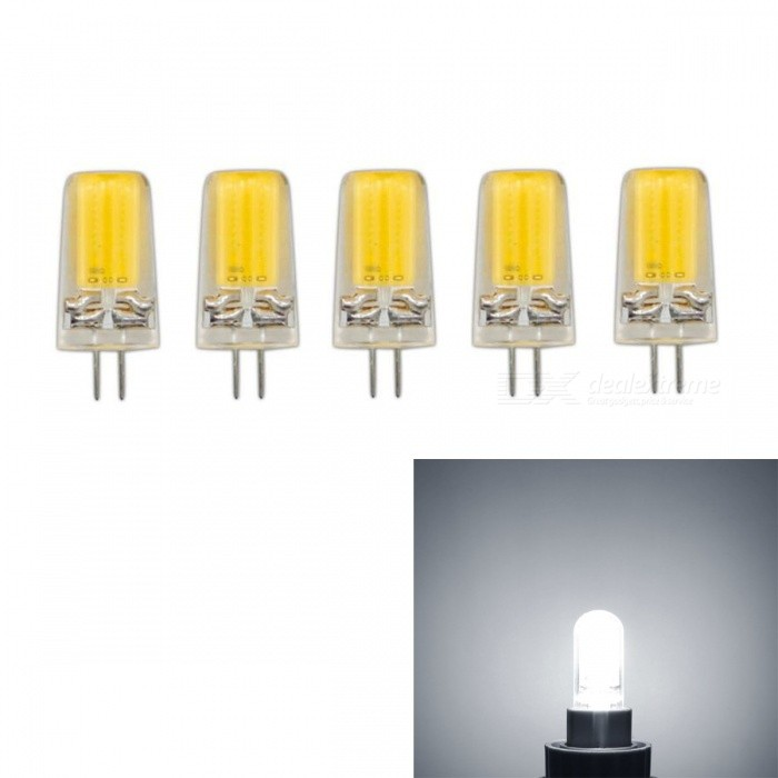 JRLED G4 3W COB Cold White Dimmable Light Bulbs (AC 220V, 5 PCS)G4<br>Color BIN3W Cold WhiteModelN/AMaterialSilica gel + LEDForm  ColorTransparent + YellowQuantity5 piecesPower3WRated VoltageAC 220 VConnector TypeG4Chip BrandEpistarChip TypeN/AEmitter TypeCOBTotal Emitters1Theoretical Lumens400 lumensActual Lumens350 lumensColor Temperature6000KDimmableNoBeam Angle360 °WavelengthN/ACertificationCE ROHSOther FeaturesThis product uses integrated drive, support SCR dimming regulator brightness, chip using sapphire chip, brightness is 30% higher than the traditional light bulb.Packing List5 x G4 220V LED Bulbs<br>