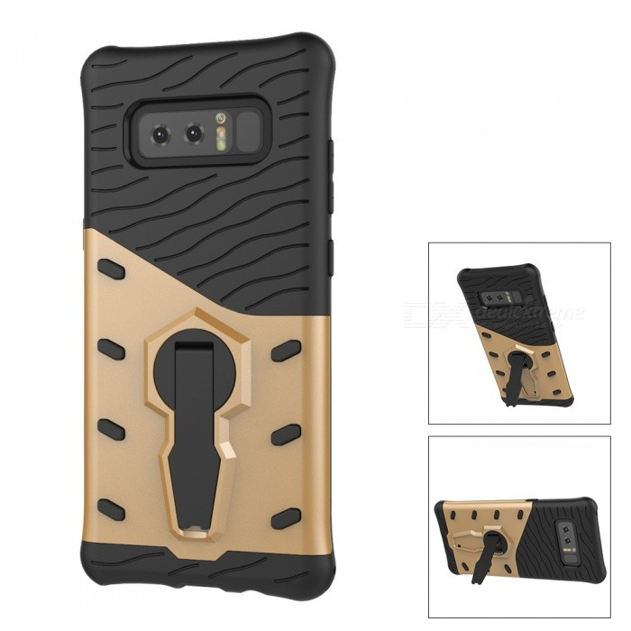 Mini Smile Dual Layer TPU + PC Back Case w/ Holder Stand for Samsung Galaxy Note 8 - GoldenPlastic Cases<br>Form  ColorGoldenModelN8-FJMaterialPC + TPUQuantity1 DX.PCM.Model.AttributeModel.UnitShade Of ColorGoldFeaturesAnti-slip,Dust-proof,Shock-proof,Abrasion resistance,Easy-to-remove,Holder functionCompatible ModelsSamsung Galaxy Note 8Packing List1 x Case<br>