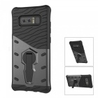 Mini Smile Dual Layer TPU + PC Back Case w/ Holder Stand for Samsung Galaxy Note 8 - Black