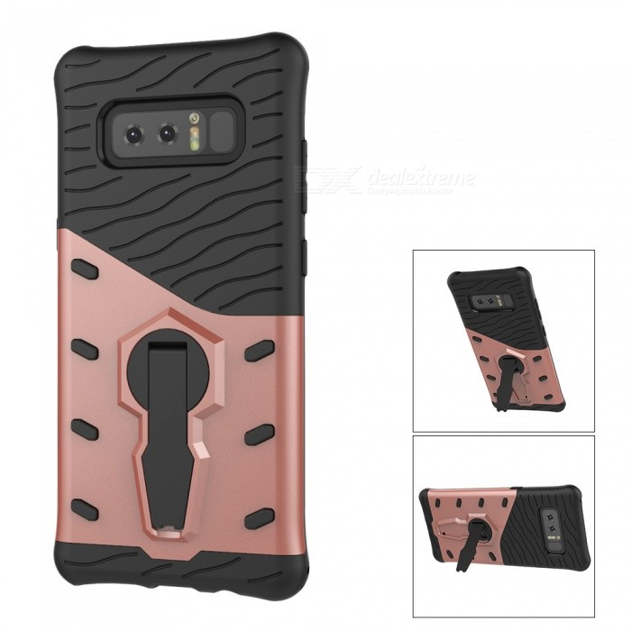 Mini Smile Dual Layer TPU + PC Back Case w/ Holder Stand for Samsung Galaxy Note 8 - Rose GoldPlastic Cases<br>Form  ColorRose GoldModelN8-FJMaterialPC + TPUQuantity1 pieceShade Of ColorGoldFeaturesAnti-slip,Dust-proof,Shock-proof,Abrasion resistance,Easy-to-remove,Holder functionCompatible ModelsSamsung Galaxy Note 8Packing List1 x Case<br>