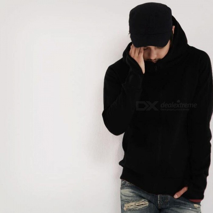 Fashion Men's Hooded Sweater Zippered Jacket - Black (XL)
