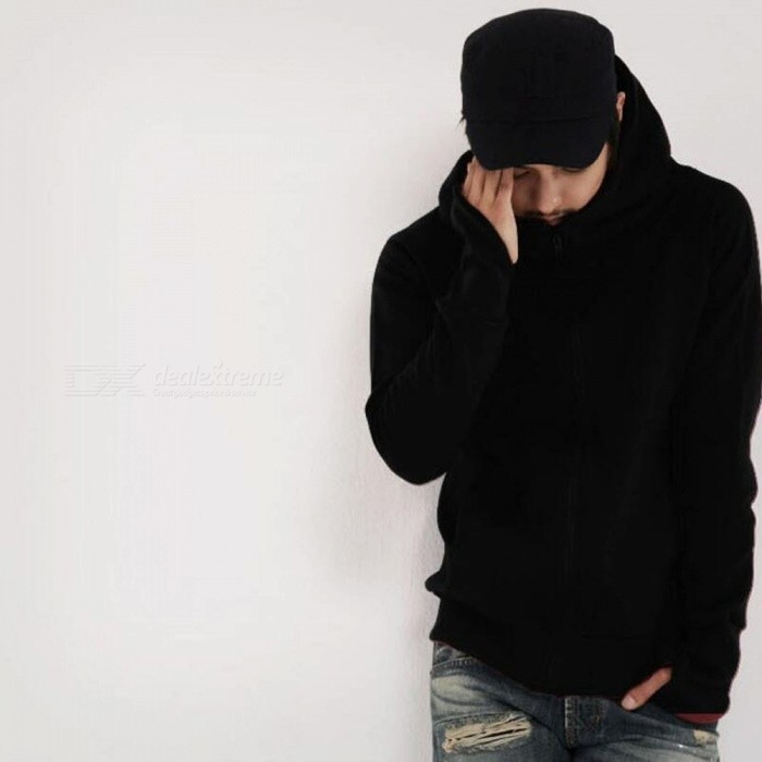 Fashion Mens Hooded Sweater Zippered Jacket - Black (L)Jackets and Coats<br>Form  ColorBlackSizeLQuantity1 pieceShade Of ColorBlackMaterialPolyesterStyleFashionTop FlyZipperShoulder Width45.5 cmChest Girth104 cmSleeve Length72 cmTotal Length65 cmSuitable for Height165-180 cmPacking List1 x Jacket<br>