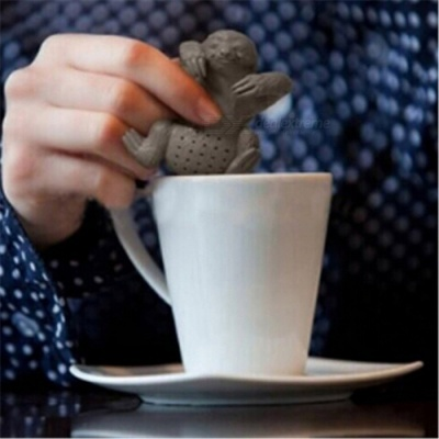 Cute Lazy Sloth Style Tea Infuser Silicone Reusable Portable Tea Bag Loose Tea Strainer Coffee Herb Filter
