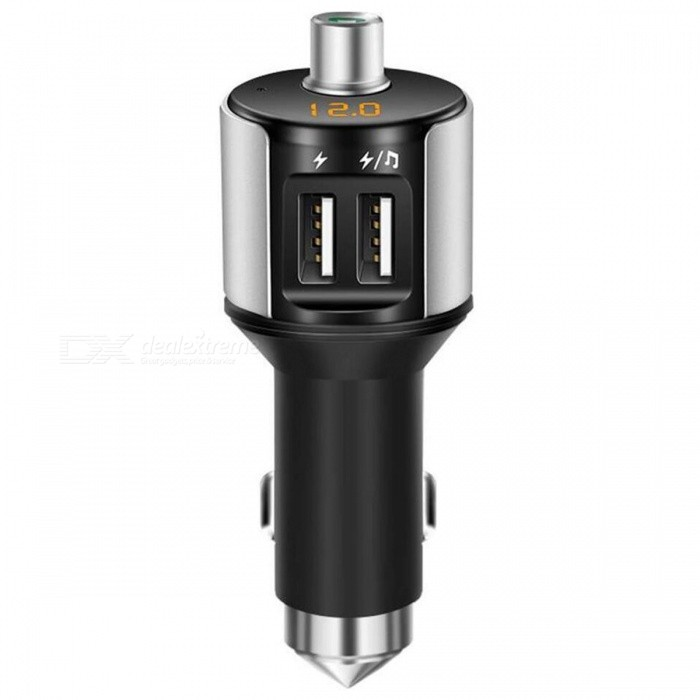 Bluetooth V4.1 Car Kit Wireless MP3 Player Handsfree FM Transmitter with Dual USB Car Charger - Silver + BlackBluetooth Car Kits<br>Form  ColorSilver + MulticoloredModelLC-5100Quantity1 DX.PCM.Model.AttributeModel.UnitMaterialABSFunctionOthers,Handsfree, MP3 Player, FM Transmitter, Power Off Memory function, A2DPCompatible CellphoneOthers,IPHONE, Motorola, Blackberry, LG, Sumsang, Nokia, SonyEricsson, HTCVoice Prompt LanguageOtherBluetooth VersionOthers,Bluetooth V4.1Transmit Distance10 DX.PCM.Model.AttributeModel.UnitCharging Voltage12-24 DX.PCM.Model.AttributeModel.UnitInterface/PortOthers,USB 2.0Packing List1 x Car Handsfree FM Transmitter Kit1 x User Manual<br>