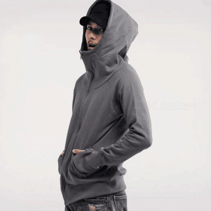 Fashion Mens Hooded Sweater Zippered Jacket - Dark Gray (M)Jackets and Coats<br>Form  ColorDark GreySizeMQuantity1 pieceShade Of ColorGrayMaterialPolyesterStyleFashionTop FlyZipperShoulder Width43.5 cmChest Girth102 cmSleeve Length70 cmTotal Length63 cmSuitable for Height160-175 cmPacking List1 x Jacket<br>