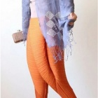 Fashion New Fried Chicken Legs Elastic Band Pants for Women - Orange (M)