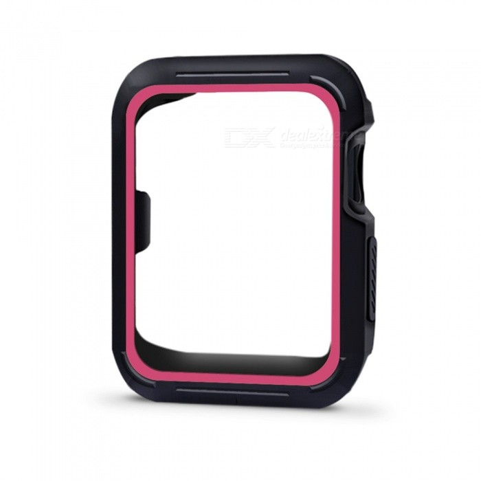 Protective Bumper Case Shock-proof Shatter-resistant Cover for 38mm Apple Watch Series 3/2/1, Nike+ Sport Edition - Deep PinkWearable Device Accessories<br>Form  ColorBlack + FuchsiaModel38mm Apple Watch CaseQuantity1 DX.PCM.Model.AttributeModel.UnitMaterialSiliconPacking List1 x Protective Watch Case for Apple Watch Series 1/2/3<br>