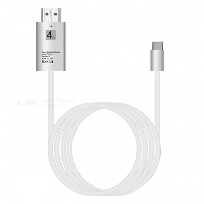 2m USB 3.1 Type-C USB-C to HDMI 4K 30Hz HD Cable Converter - WhiteAV Adapters And Converters<br>Form  ColorWhiteMaterialABSQuantity1 DX.PCM.Model.AttributeModel.UnitShade Of ColorWhiteCable Length200 DX.PCM.Model.AttributeModel.UnitConnectorHDMI,Others,USB 3.1 Type-CPacking List1 x Video Cable<br>