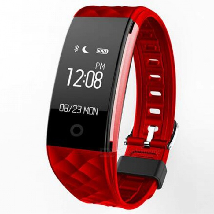 S2 0.96 OLED Bluetooth Smart Band Wristband with Heart Rate Monitor - Red