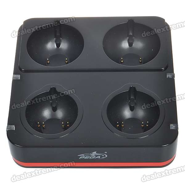 Quadruple Port Charging Station for PlayStation 3 Move Controllers - Black